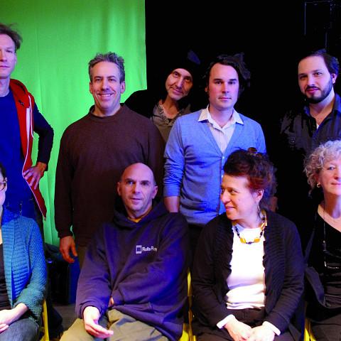 Back left to right: Vergil Sharkya'; Jean Derome; Michel F Côté; Alexandre St-Onge; Guido Del Fabbro; Front left to right: Émilie Girard-Charest; Martin Tétreault; Joane Hétu; Danielle Palardy Roger [Photograph: Élisabeth Alice Coutu, Montréal (Québec), February 13, 2012]