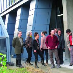 Ensemble SuperMusique (ESM) (left to right: Vergil Sharkya'; Jean Derome; Danielle Palardy Roger; Joane Hétu; Émilie Girard-Charest; Martin Tétreault; Guido Del Fabbro; Alexandre St-Onge; Lévy Bourbonnais; Michel F Côté) [Photograph: Céline Côté, Montréal (Québec), September 27, 2012]
