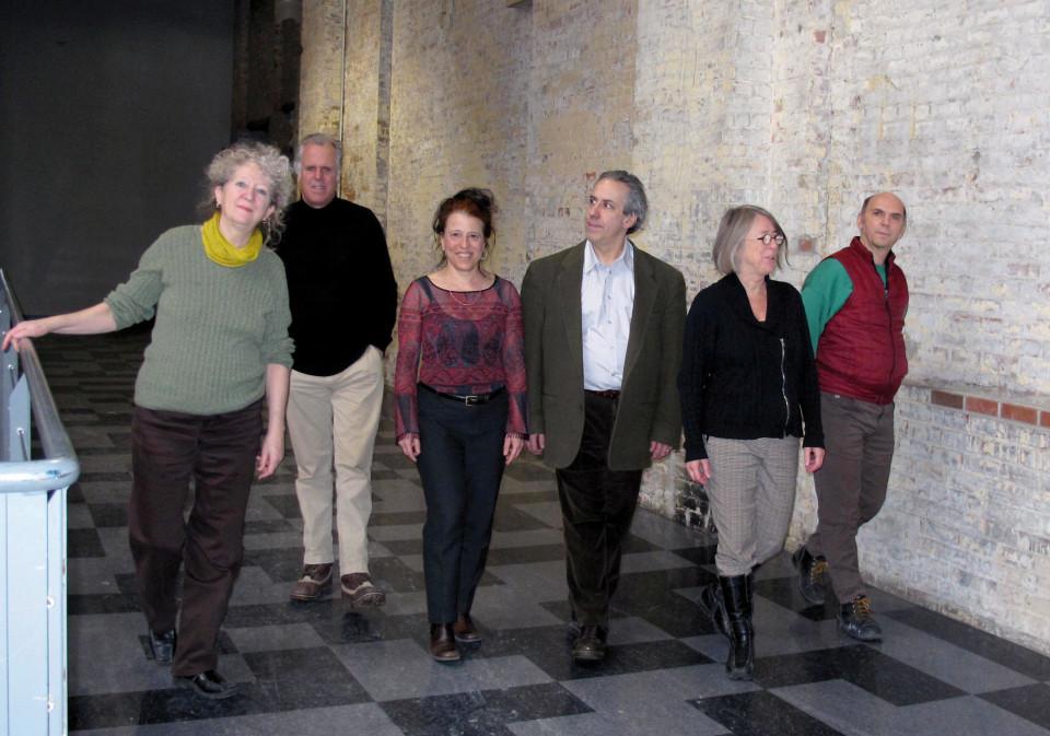 Ensemble SuperMusique (ESM) (left to right: Danielle Palardy Roger; Pierre Tanguay; Joane Hétu; Jean Derome; Diane Labrosse; Martin Tétreault) [Photo: Céline Côté, February 14, 2013]