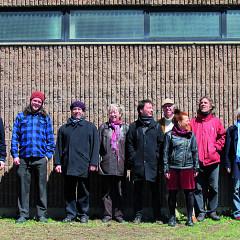 Ensemble SuperMusique (ESM) (left to right: Guido Del Fabbro; Némo Venba; Scott Thomson; Jean Derome; Danielle Palardy Roger; Bernard Falaise; Pierre Tanguay; Joane Hétu; Guillaume Dostaler; Lori Freedman; Nicolas Caloia; Martin Tétreault) [Photograph: Céline Côté, Montréal (Québec), April 22, 2013]