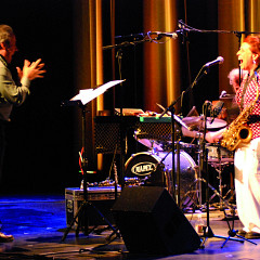 Ensemble SuperMusique (ESM) in concert at the Festival des musiques de création (FMC) (Jean Derome; Danielle Palardy Roger; Joane Hétu) [Photograph: Jonathan , Jonquière (Québec), May 18, 2013]
