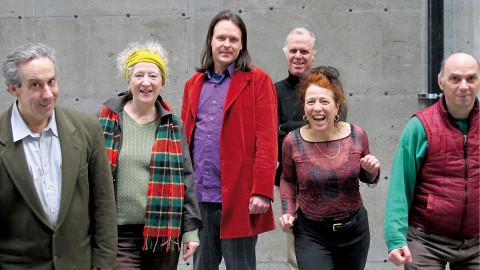 Ensemble SuperMusique (ESM), from left to right: Jean Derome; Danielle Palardy Roger; Scott Thomson; Pierre Tanguay; Joane Hétu; Martin Tétreault [Photograph: Céline Côté, February 14, 2013]