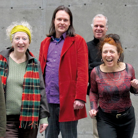 Ensemble SuperMusique (ESM), from left to right: Jean Derome; Danielle Palardy Roger; Scott Thomson; Pierre Tanguay; Joane Hétu; Martin Tétreault [Photograph: Céline Côté, February 14, 2013]