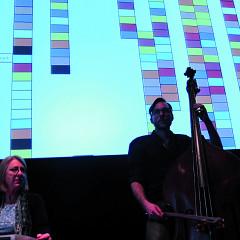 The musicians Diane Labrosse and Aaron Lumley of the Ensemble SuperMusique (ESM) during Machinaction [Photograph: Robin Pineda Gould, Montréal (Québec), November 14, 2013]