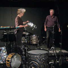 The musicians Danielle Palardy Roger and Pierre Tanguay of the Ensemble SuperMusique (ESM) in concert at Ottawa [Photograph: Joane Hétu, Ottawa (Ontario, Canada), October 20, 2013]