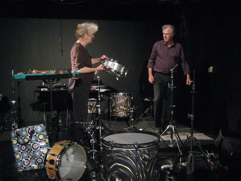 Les musiciens Danielle Palardy Roger et Pierre Tanguay de l'Ensemble SuperMusique (ESM) au concert d'Ottawa [Photo: Joane Hétu, Ottawa (Ontario, Canada), 20 octobre 2013]