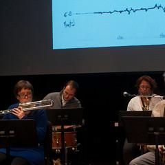 Ensemble SuperMusique (ESM) (left to right: Corinne René; Lori Freedman; Nicolas Caloia; Pierre-Yves Martel) [Photo: Graham Ord, Montréal (Québec), February 1, 2014]