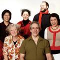 In back left to right: Alissa Cheung; Isabelle Bozzini; Isaiah Ceccarelli; Stéphanie Bozzini; in front Clemens Merkel; Danielle Palardy Roger; Jean Derome; Joane Hétu [Photograph: Céline Côté, Montréal (Québec), February 11, 2015]