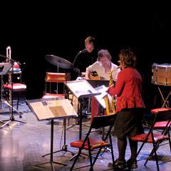 Ensemble SuperMusique (ESM), and Kim Myhr; Jean Derome; Isaiah Ceccarelli; Kim Myhr; Danielle Palardy Roger; Joane Hétu [Photograph: Céline Côté, Montréal (Québec), April 23, 2015]