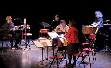 Ensemble SuperMusique (ESM), and Kim Myhr; Jean Derome; Isaiah Ceccarelli; Kim Myhr; Danielle Palardy Roger; Joane Hétu [Photo: Céline Côté, Montréal (Québec), April 23, 2015]
