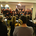 Members of Ensemble SuperMusique (ESM) and groupe Le Vivier interpreting the piece Le Caillou from Danielle Palardy Roger, conducted by Joane Hétu [Photograph: Clément Topping, Montréal (Québec), February 25, 2015]