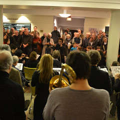 Members of Ensemble SuperMusique (ESM) and groupe Le Vivier interpreting the piece Le Caillou from Danielle Palardy Roger, conducted by Joane Hétu [Photograph: Clément Topping, Montréal (Québec), February 25, 2015]