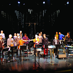 Ensemble SuperMusique (ESM): left to right, 1st row — Danielle Palardy Roger; Guido Del Fabbro; Joshua Zubot; Jean René; Jean-Christophe Lizotte; Lori Freedman; Philippe Lauzier; Joane Hétu; Jean Derome; Cléo Palacio-Quintin — 2nd row — Pierre-Yves Martel; Aaron Lumley; Vergil Sharkya'; Elizabeth Lima; Isaiah Ceccarelli; Bernard Falaise; Alexandre St-Onge; Corinne René; Gabriel Dharmoo; Martin Tétreault; Ida Toninato; Scott Thomson; Craig Pedersen; Géraldine Eguiluz —not on the photo: Kathy Kennedy [Photograph: Céline Côté, Montréal (Québec), April 8, 2016]