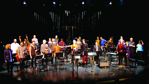Ensemble SuperMusique (ESM): left to right, 1st row — Danielle Palardy Roger; Guido Del Fabbro; Joshua Zubot; Jean René; Jean-Christophe Lizotte; Lori Freedman; Philippe Lauzier; Joane Hétu; Jean Derome; Cléo Palacio-Quintin — 2nd row — Pierre-Yves Martel; Aaron Lumley; Vergil Sharkya'; Elizabeth Lima; Isaiah Ceccarelli; Bernard Falaise; Alexandre St-Onge; Corinne René; Gabriel Dharmoo; Martin Tétreault; Ida Toninato; Scott Thomson; Craig Pedersen; Géraldine Eguiluz —not on the photo: Kathy Kennedy [Photo: Céline Côté, Montréal (Québec), April 8, 2016]