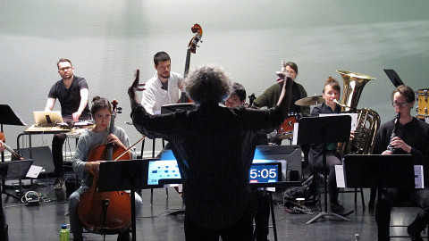 Young musicians from the Ensemble SuperMusique (ESM) take part in the training directed by Danielle Palardy Roger [Photograph: Céline Côté, Montréal (Québec), May 6, 2017]