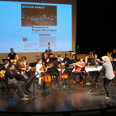 Ensemble SuperMusique (ESM) during the public workshop [Photograph: Céline Côté, Montréal (Québec), May 7, 2017]