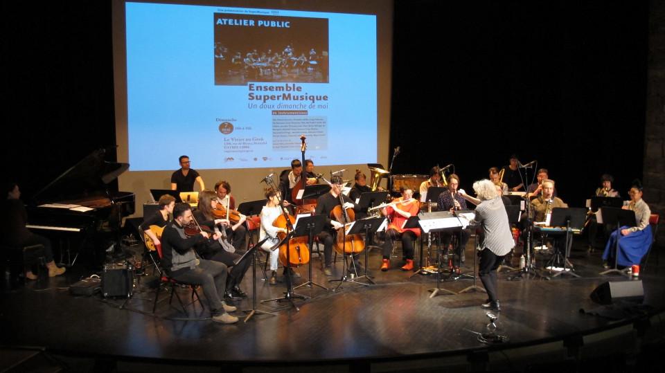 Ensemble SuperMusique (ESM) during the public workshop [Photograph: Céline Côté, Montréal (Québec), May 7, 2017]