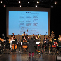 Ensemble SuperMusique (ESM), during the public workshop, plays the piece Les états conducted by Joane Hétu [Photo: Céline Côté, Montréal (Québec), May 7, 2017]