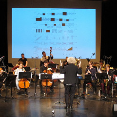 Ensemble SuperMusique (ESM), during the public workshop, plays the piece Collision conducted by Danielle Palardy Roger [Photograph: Céline Côté, Montréal (Québec), May 7, 2017]