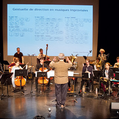 Ensemble SuperMusique (ESM) during the public workshop, under the direction of Jean Derome [Photograph: Céline Côté, Montréal (Québec), May 7, 2017]