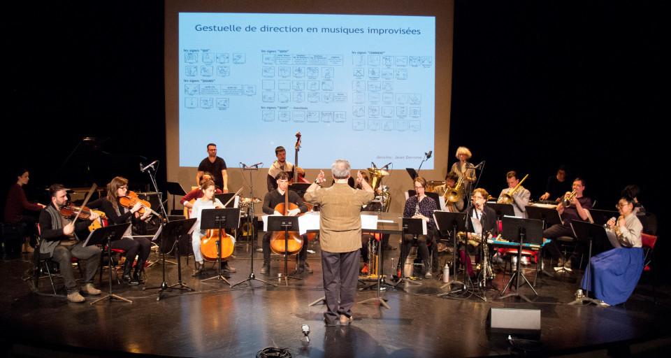 L'Ensemble SuperMusique (ESM) lors de l'atelier public, sous la direction de Jean Derome [Photo: Céline Côté, Montréal (Québec), 7 mai 2017]
