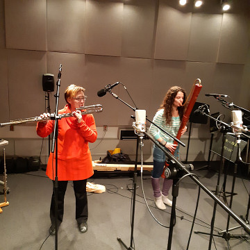 Ensemble SuperMusique (ESM) / Aussi sur la photo: Cléo Palacio-Quintin, Terri Hron [Photo: Ana Dall'Ara-Majek, Montréal (Québec), janvier 2019]