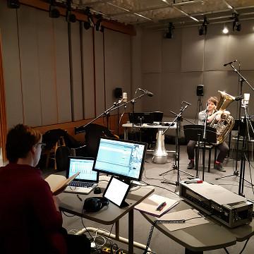 Ensemble SuperMusique (ESM) / Aussi sur la photo: Cléo Palacio-Quintin, Julie Houle [Photo: Ana Dall'Ara-Majek, Montréal (Québec), janvier 2019]