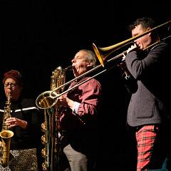 Joane Hétu, Jean Derome, Scott Thomson [Photo: Céline Côté, Montréal (Québec), 22 novembre 2018]