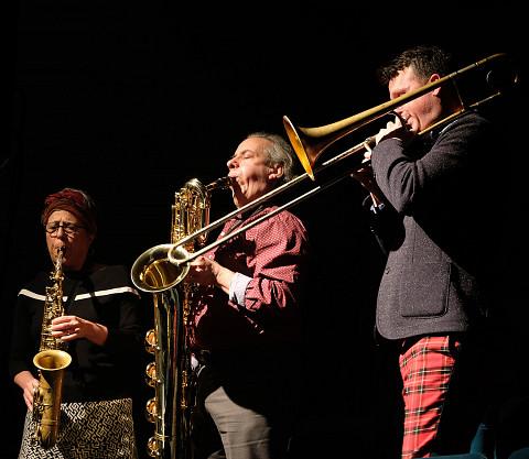 Joane Hétu, Jean Derome, Scott Thomson [Photograph: Céline Côté, Montréal (Québec), November 22, 2018]