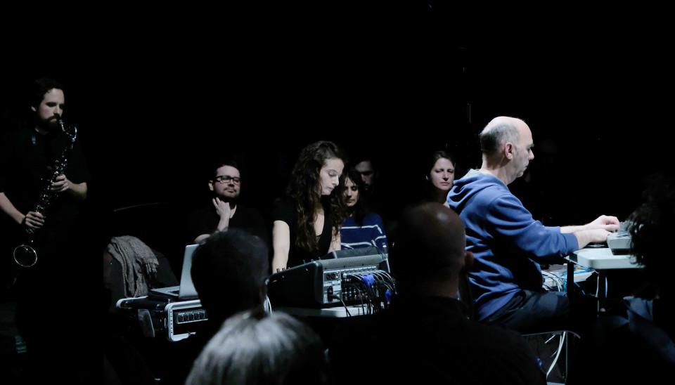 Terri Hron at the console during the performance of his piece Manhattan Bridge by the Ensemble SuperMusique (ESM) [Photograph: Céline Côté, Montréal (Québec), April 10, 2019]