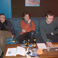 Foodsoon: Fabrizio Gilardino, Bernard Falaise, Alexander MacSween at studio hotel2tango during the recording of Some Love in March 2005 [Photo: Howard Bilerman, March 2005]