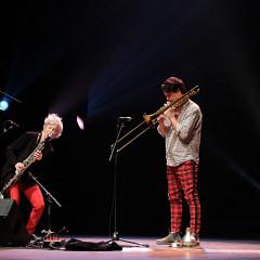 Lori Freedman / Scott Thomson Duo during the Le cabaret qui ruisselle concert, as part of the Montréal / Nouvelles Musiques 2021 festival. [Photo: Céline Côté, Montréal (Québec), February 24, 2021]