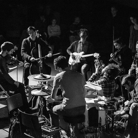 Grand groupe régional d'improvisation libérée (GGRIL) [Photograph: Mathieu Gosselin, Rimouski (Québec), November 2014]