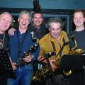Normand Guilbeault Ensemble (Normand Deveault, Matthieu Bélanger, Normand Guilbeault, Jean Derome, Claude Lavergne, Ivanhoe Jolicœur) [Photograph: Daniel Dufour, Montréal (Québec), May 30, 2008]