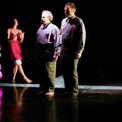 Joane Hétu, Susanna Hood, Jean Derome, Isaiah Ceccarelli in the piece L'amoureuse [Photograph: Jean-Claude Désinor, Montréal (Québec), October 27, 2010]