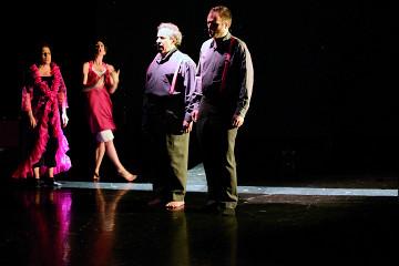Joane Hétu, Susanna Hood, Jean Derome, Isaiah Ceccarelli in the piece L'amoureuse [Photo: Jean-Claude Désinor, Montréal (Québec), October 27, 2010]