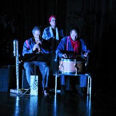 Jean Derome, Joane Hétu, Isaiah Ceccarelli, in the piece Ma mémoire [Photograph: Jean-Claude Désinor, Montréal (Québec), October 27, 2010]
