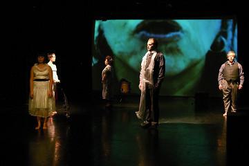 Alice Tougas St-Jak, Susanna Hood,Joane Hétu, Isaiah Ceccarelli, Jean Derome, in the piece Opinion [Photo: Jean-Claude Désinor, Montréal (Québec), October 27, 2010]