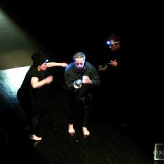 Joane Hétu, Jean Derome, Isaiah Ceccarelli, performing the piece Un artiste de la vie first part of the project À la rencontre de Kafka [Photograph: Jean-Claude Désinor, Montréal (Québec), April 1, 2011]