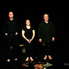 Isaiah Ceccarelli, Joane Hétu, Jean Derome, the musicians of the piece Un artiste de la vie first part of the project À la rencontre de Kafka [Photograph: Jean-Claude Désinor, Montréal (Québec), April 1, 2011]