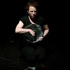 Joane Hétu performing the piece Un artiste de la vie first part of the project À la rencontre de Kafka [Photograph: Jean-Claude Désinor, Montréal (Québec), April 1, 2011]
