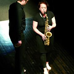 Isaiah Ceccarelli and Joane Hétu performing the piece Un artiste de la vie first part of the project À la rencontre de Kafka [Photograph: Jean-Claude Désinor, Montréal (Québec), April 1, 2011]