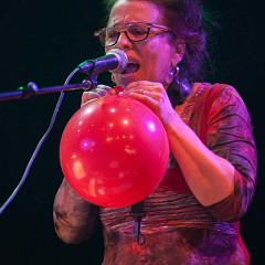 Joane Hétu in concert with Ensemble SuperMusique (ESM) at Festival international de musique actuelle de Victoriaville [Photograph: Martin Morissette, Victoriaville (Québec), May 19, 2012]