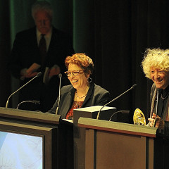 Joane Hétu, Danielle Palardy Roger at the 20th Gala des Prix Opus at Salle Bourgie in Montréal [Photograph: Suzanne O'Neil — CQM, Montréal (Québec), February 5, 2017]
