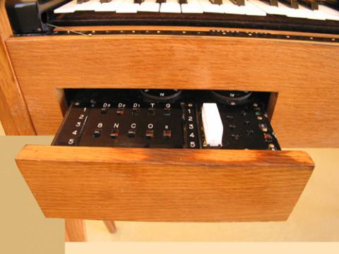 Ondes Martenot, 1976 (7th generation since 1928; 1st generation with transistors); Suzanne Binet-Audet's instrument. 10/38 [Photo: Luc Beauchemin, Boucherville (Québec), April 2005]