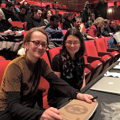 Monique Jean and Elizabeth Hoffman at the Spatialized Sound concert at Skirball Center — New York University [Photo: Pauline Kim Harris, New York City (New York, USA), February 27, 2015]