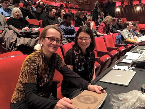 Monique Jean and Elizabeth Hoffman at the Spatialized Sound concert at Skirball Center — New York University [Photo: Pauline Kim Harris, New York City (New York, USA), February 27, 2015]