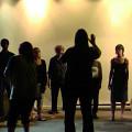 The choir Chorale Joker in concert in Montréal, left to right: Jean Derome, Isaiah Ceccarelli, Gabriel Dharmoo, Diane Labrosse, Danielle Palardy Roger, Joane Hétu, Susanna Hood, Géraldine Eguiluz, Elizabeth Lima, Kathy Kennedy and conducted by Christine Duncan, and DB Boyko [Montréal (Québec), May 30, 2012]
