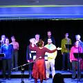 The choir Chorale Joker conducted by Joane Hétu in concert in Montréal during the Festival MNM, left to right: Susanna Hood; Elizabeth Lima; Alexandre St-Onge; Kathy Kennedy; Danielle Palardy Roger; Jean Derome; Isaiah Ceccarelli; Will Eizlini; Gabriel Dharmoo; Lori Freedman; Géraldine Eguiluz; Diane Labrosse [Photograph: Céline Côté, Montréal (Québec), March 1, 2013]