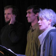 Isaiah Ceccarelli; Gabriel Dharmoo; Lori Freedman singing in the choir Chorale Joker [Photograph: Céline Côté, Montréal (Québec), March 1, 2013]